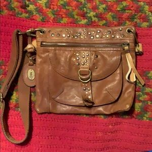 Fossil brown leather shoulder bag